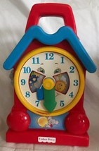 """Vintage Fisher Price 1994 Musical Wind Up Clock Red Blue Toy 10"""" Hands Move - $16.82"""