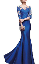 Royal Blue Mermaid Prom Dresses Half Sleeves, Formal Evening Gown,Party ... - $169.00