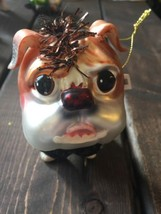 New Glass Blown Christmas Tree Ornament Dog Glitter Funky Holiday Formal... - $24.64