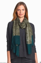 Eileen Fisher Colorblock Wool Scarf Caper Green... - $149.00