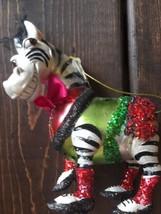 New Glass Blown Christmas Tree Ornament Zebra Bow Glitter Ballet Holiday... - $24.64