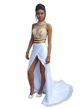 Two Piece Prom Dresses Gown White, Homecoming Dress,Formal Party Dress Gown - $169.00