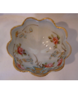 Vintage Small Three Footed Japanese Scalloped Salt Cellar with Roses - $16.99