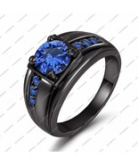 925 Silver Black Gold Plated 1Ct Blue Sapphire Round Cut Women's Engagement Ring - £68.24 GBP