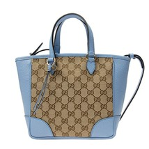 Gucci Original GG Calf Leather Beige Mineral Blue Tote Cross Body - $1,400.00
