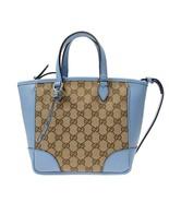Gucci Original GG Calf Leather Beige Mineral Blue Tote Cross Body - $1,400.00