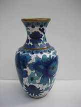 Vintage Chinese Cloisonne Small Floral Vase w/ Teal Blue Blossoms - $225.00