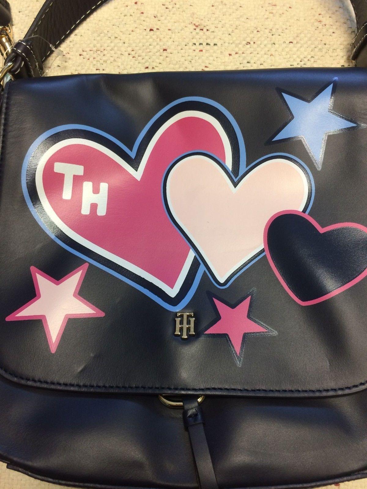 49b8cfd899d ... NWT Tommy Hilfiger Star Hearts Deboss Honey Leather Messenger Purse  Handbag $198 ...