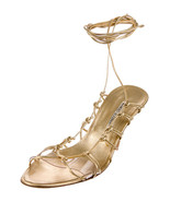 BEAUTIFUL GOLD LEATHER LACE UP MANOLO BLAHNIK HEELS IN SIZE 40 - $149.00