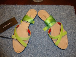 BEAUTIFUL NEW SOLD OUT DOLCE & GABBANA GREEN SUEDE/RIBBON GLADIATOR SANDALS - $198.55
