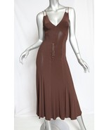 BEAUTIFUL, SUPER RARE, $1,895 NEW DONNA KARAN BROWN DRESS WITH LEATHER S... - $568.50