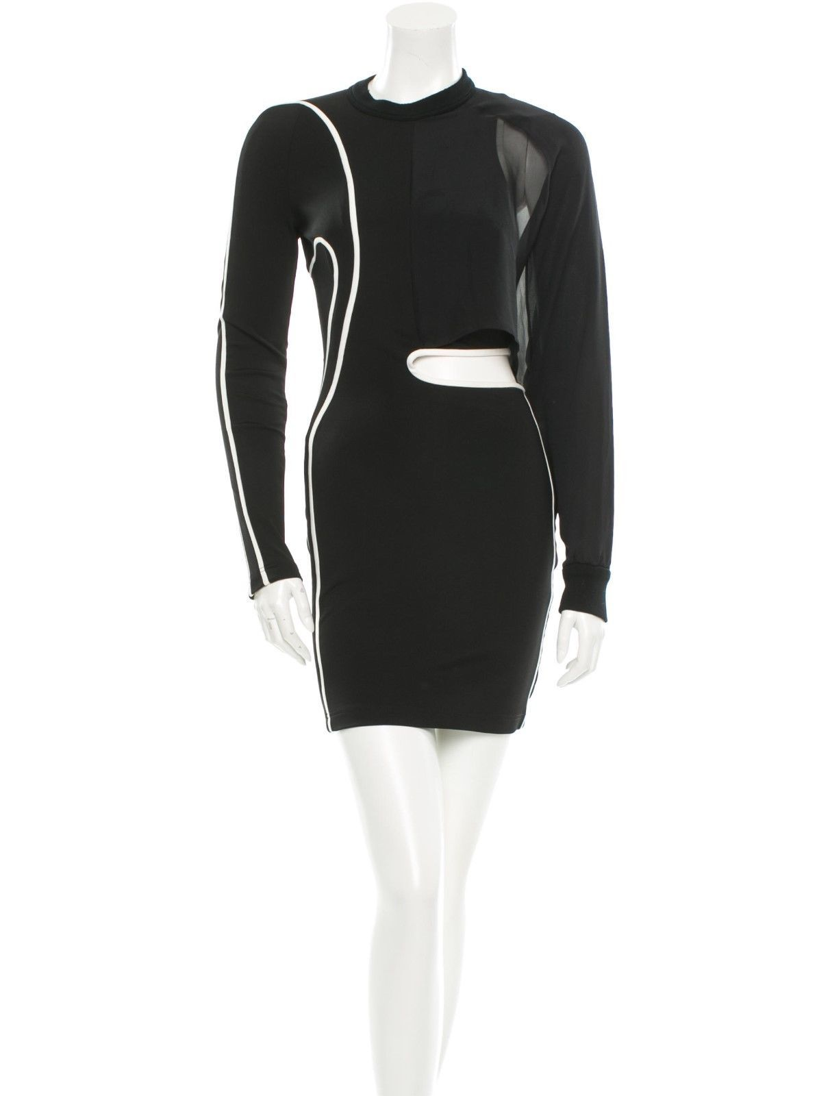 CRAZY COOL, NWT $1,782 SEXY SOLD OUT BLACK & WHITE BODYCON ALEXANDER WANG DRESS