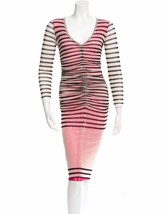 SEXY, UBER FLATTERING NEW JEAN PAUL GAULTIER STRIPED RUCHED MESH DRESS - $595.00