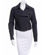 GORGEOUS $3,995 NEW SLATE BLUE RIBBED LEATHER RALPH LAUREN CROPPED MOTO ... - $1,797.75