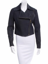 GORGEOUS $3,995 NWT RALPH LAUREN BLACK LABEL RIBBED LEATHER CROPPED MOTO... - $1,797.75