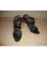 STUNNING NEW $895 SOLD OUT MANOLO BLAHNIK PATENT LEATHER SANDALS / HEELS - $447.50