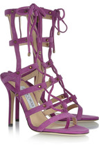 """STUNNING NEW JIMMY CHOO PURPLE SUEDE GLADIATOR $1,195 """"MEDDLE"""" CAGED SAN... - $755.25"""