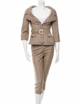 STYLISH NEW $4,450 ALEXANDER MCQUEEN WOOL PLAID CAPRI PANT SUIT WITH BELT - $1,305.00