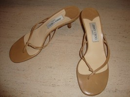 STYLISH YET TIMELESS JIMMY CHOO LEATHER SANDALS IN BEIGE LEATHER - $118.75