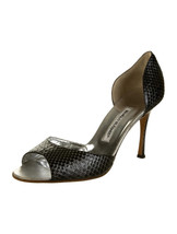 """GORGEOUS SOLD OUT NEW $715 SNAKESKIN PEEP TOE """"D'ORSAY"""" PUMPS BY MANOLO ... - $339.62"""