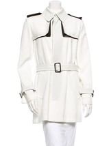 Sold Out, New $4,290 J EAN Paul Gaultier Cream Jacket With Brown Leather Trim - $891.00