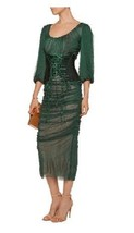 SOLD OUT, NWT $5,131 DOLCE & GABBANA EMERALD RUCHED DRESS WITH CORSET BELT - $2,308.50