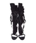 SPECTACULAR NEW SOLD OUT $2,495 DOLCE & GABBANA BLACK LACE UP SANDALS - $895.50