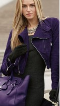SPECTACULAR NWT $2,998 PURPLE SUEDE RALPH LAUREN BLACK LABEL CROP MOTO J... - $1,349.10