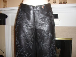 STUNNING, NEW & RARE MOSCHINO BLACK LEATHER PANTS EMBROIDERED WITH LEATH... - $325.00