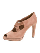 STUNNING, SOLD OUT, NEW $890 SUEDE PRADA PEEP TOE PLATFORM HEELS / PUMPS - $400.50