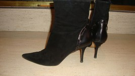 Stylish Jimmy Choo Black Suede Ankle Boots With Leather Detailing On Heels - $195.00