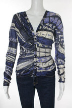 Stylish & Rare New Ruched J EAN Paul Gaultier Femme Print Silk Top - $249.00