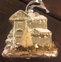 New Glass Blown Christmas Tree Ornament Barn House Mercury Pine Tree Funky - $21.07