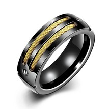 Black 7mm Titanium Ring 18k Gold Plated Cable Wedding Band Sizes 4-16 & ... - $22.95