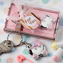 24 Pink Baby Carriage Design Key Chains Baby Shower Favors Baby Christening - $42.77