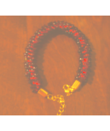 Pomegranate Red and gold kumihimo magatama beaded bracelet with lobster ... - $25.00