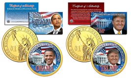 Donald Trump & Barack Obama Colorized 24KT Gold $1 Coin Set! Coa & Stands! - $29.99
