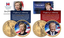 Donald Trump & Hillary Clinton Colorized Gold Plated $1 Coin Set! Coa & Stands! - $29.99