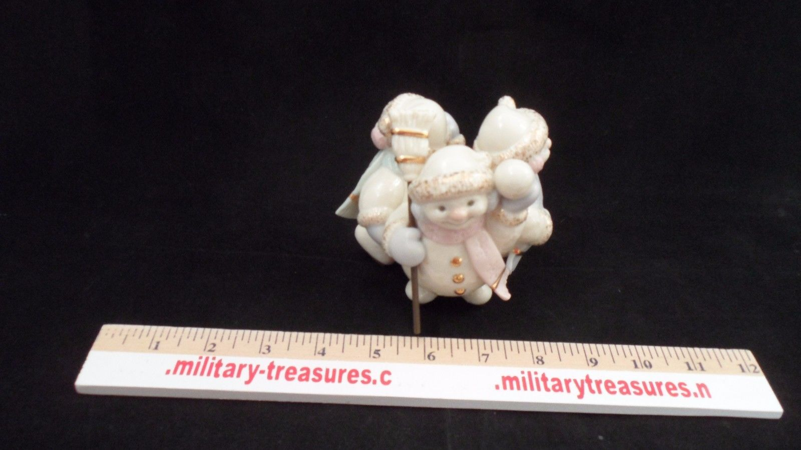 Lenox 3 Snowman Snowmen Skating by Candlelight Christmas Taper Candle Holder