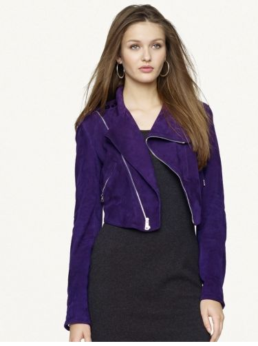 SPECTACULAR NWT $2,998 PURPLE SUEDE RALPH LAUREN BLACK LABEL CROP MOTO JACKET
