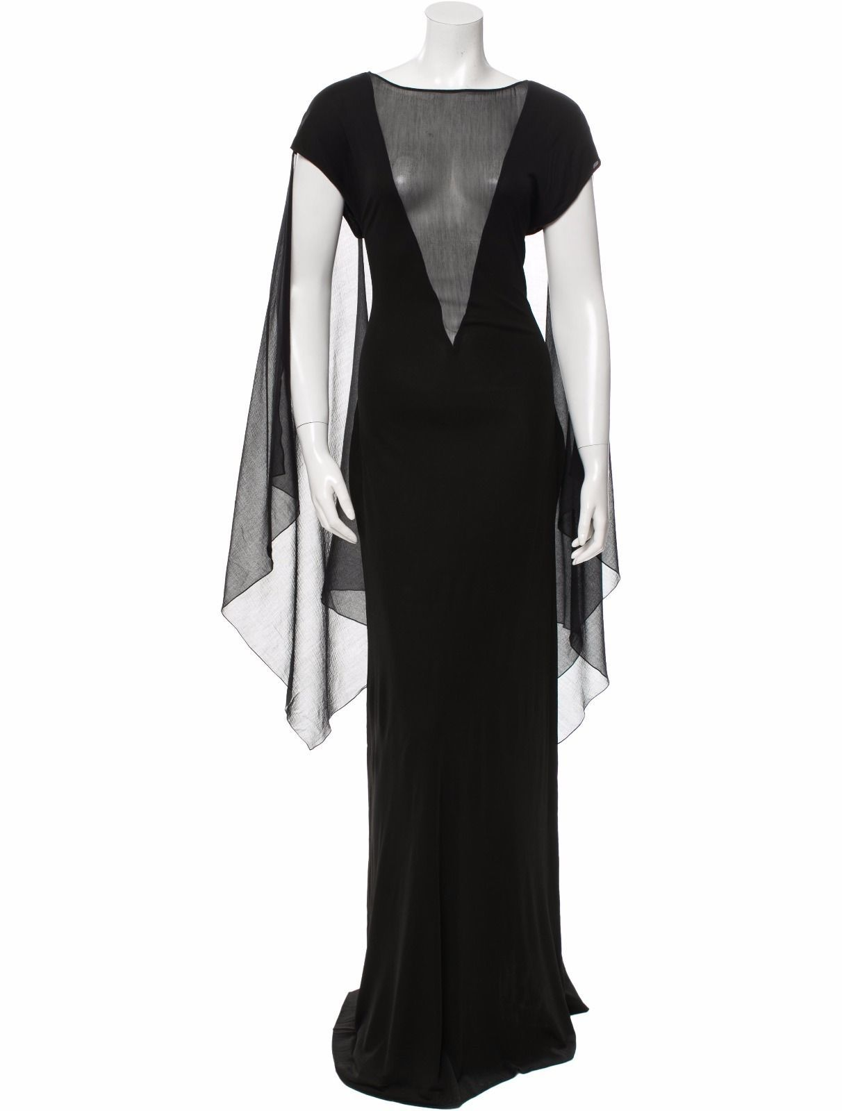 STUNNING NWT BLACK JEAN PAUL GAULTIER MAXI DRESS WITH SHEER CENTER PANEL/SLEEVES