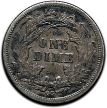 1876CC Silver Seated Dime 10¢ Coin Lot# A 438 image 2
