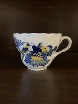 Spode Blue Bird Fine Stone Flat Cup Tea Coffee Blue Yellow Birds Fruit England - $23.02