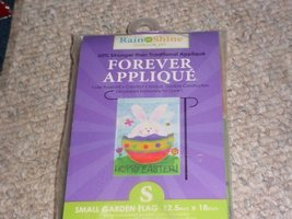 Rain or Shine Hoppy Easter! Bunny in egg Small Garden Flag 12.5 x 18 - $9.79