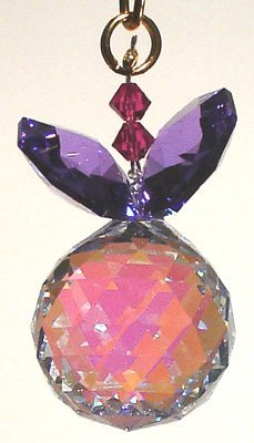 J'Leen Aurora Borealis Ball with Blue Violet Leaves Crystal Berry Ornament