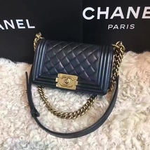Authentic Chanel Quilted Small Boy Flap Bag Black GHW