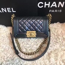 Authentic Chanel Quilted Small Boy Flap Bag Black GHW image 1