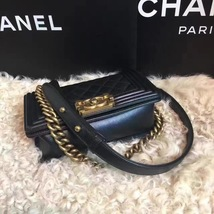 Authentic Chanel Quilted Small Boy Flap Bag Black GHW image 4