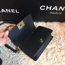Authentic Chanel Quilted Small Boy Flap Bag Black GHW image 5