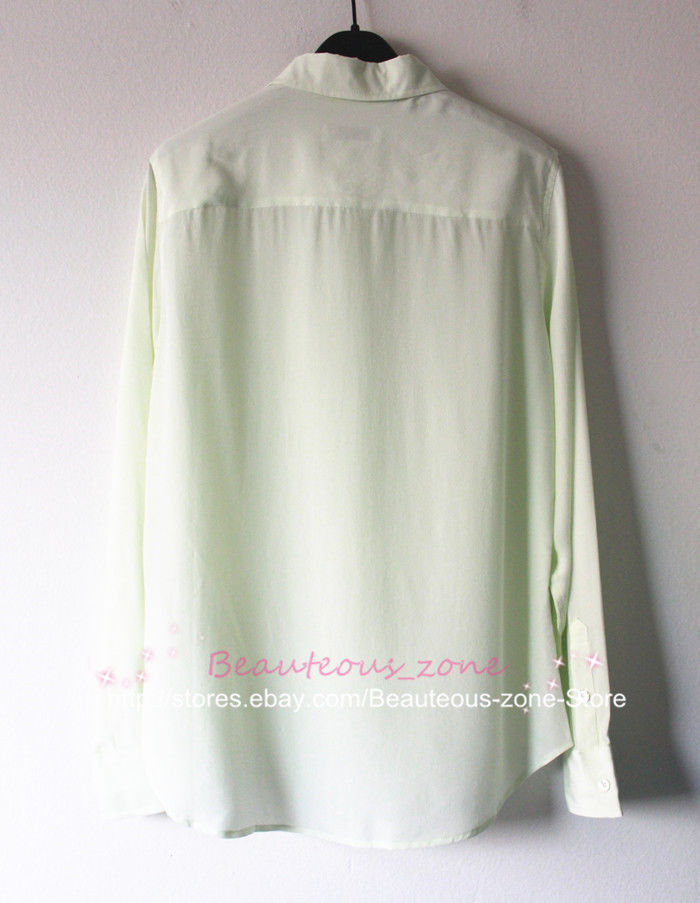 "New Equipment ""Brett"" Silk Blouse, Slim fit, Single Pocket, Mint Green, S"